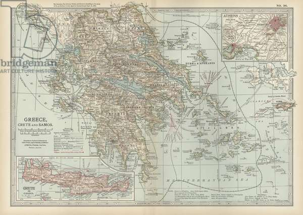Map of Greece with Crete and Samos