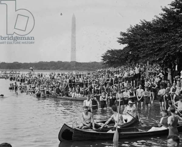 Canoe Regatta & Water Carnival with Washington Monument in the Background 1924 (photo)