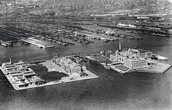 An Aerial View of Ellis Island, New York, New York, c.1922  (b/w photo)