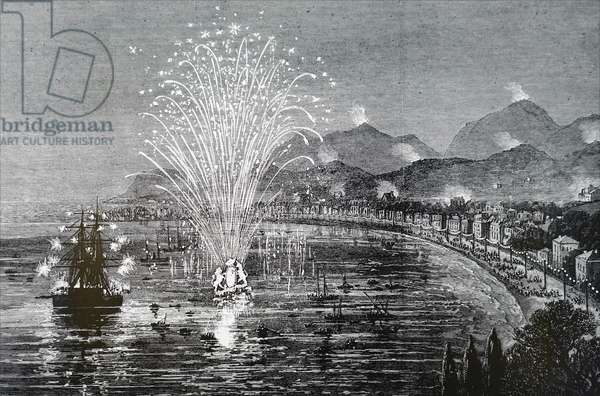A firework display in honour of Queen Victoria's visit to Victoria