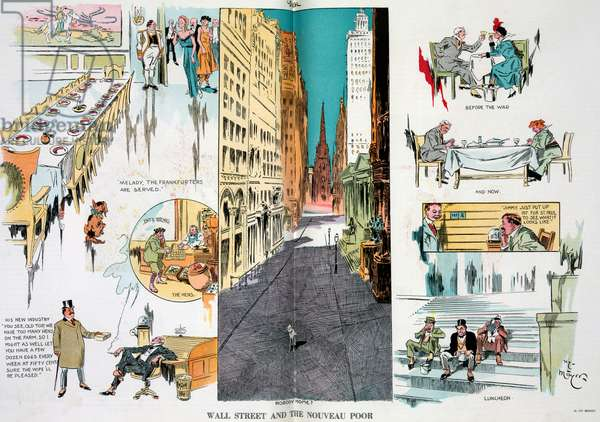 Wall Street and the nouveau poor 19140101. Illustration shows a vignette cartoon with a bird's-eye view of Wall Street where an innocent lamb is standing in the middle of the deserted financial district.
