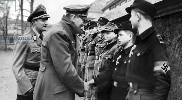 Adolf Hitler greeting Hitler Youth conscripts