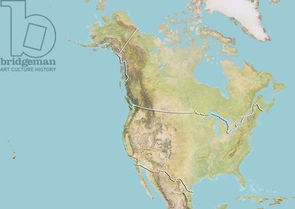 United States and Canada, Relief Map with Border