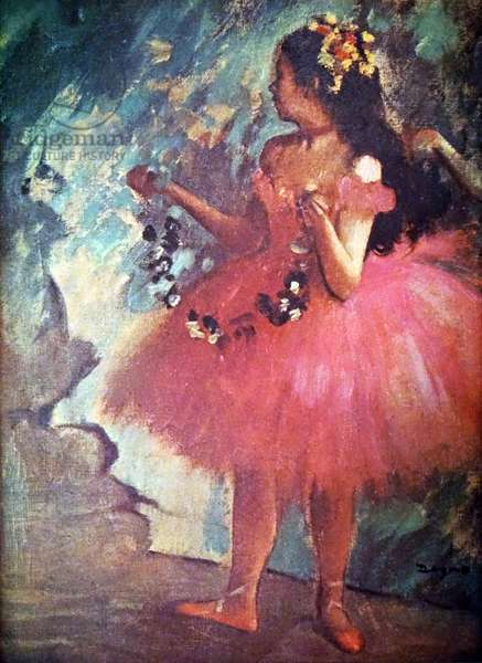 Painting titled 'Dancer in a Rose Dress' by Edgar Degas
