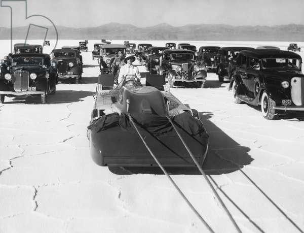 Campbell's Bluebird In Utah, Bonneville Salt Flats, Utah, September 3, 1935 (b/w photo)