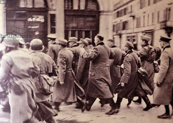 World War two : German prisoners of war marched across the streets of Mulhouse