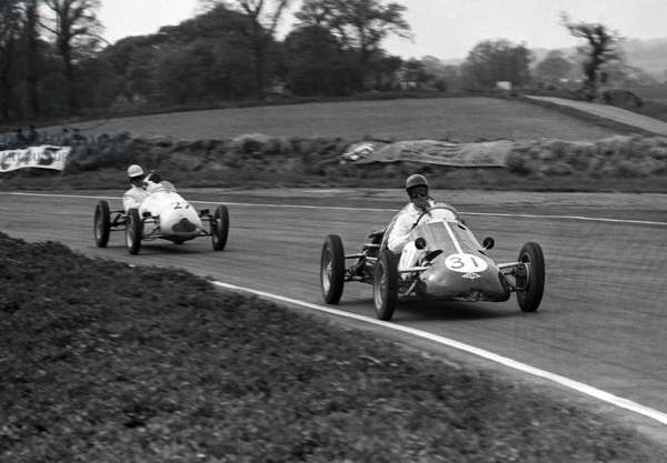 A Kieft 500cc F3 leads a Cooper in the Festival of Britain Trophy (b/w photo)