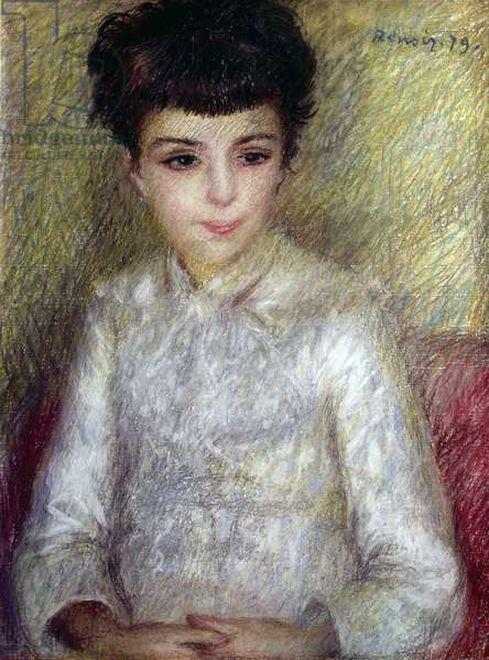 Young brunette girl sitting with hands crossed, 1879 (pastel on paper)