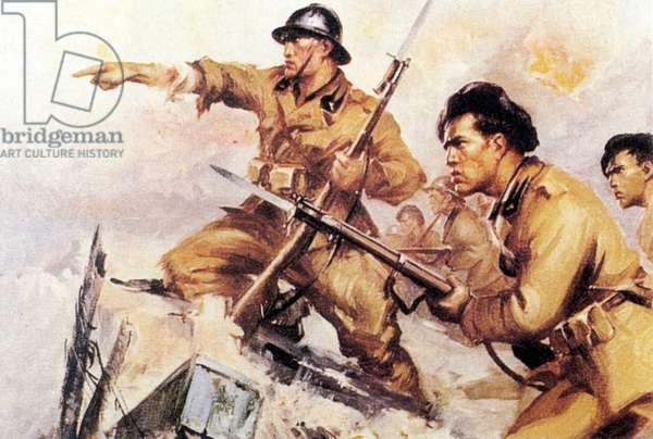 Spanish Civil War-Italian Legionaries in a commemorative postcards of the war