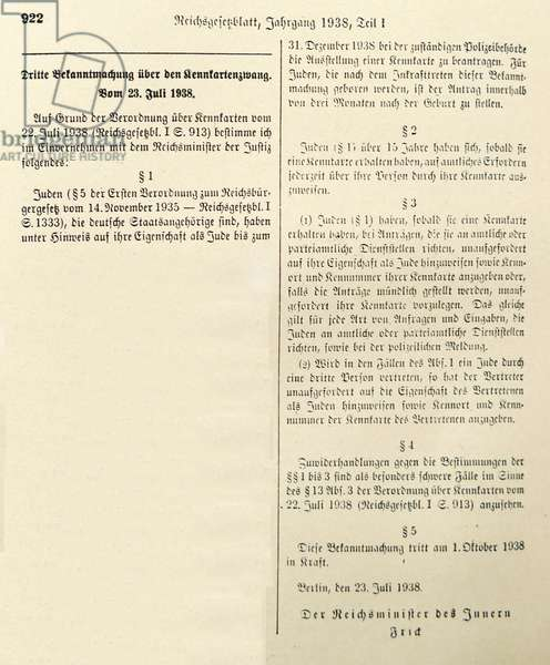 Nazi era, German Government announcement, requiring all Jews, to carry Identification cards