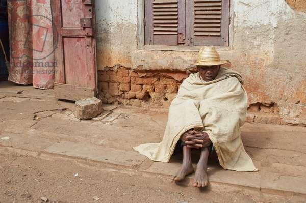 Man Wearing A Straw Hat in Ambalavao, Fianarantsoa Province, Madagascar (photo)