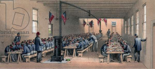 Hospital dining hall during the American Civil war, 1862
