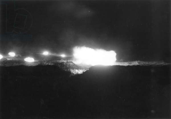 Artillery Firing in Cassino, 1944 (b/w photo)