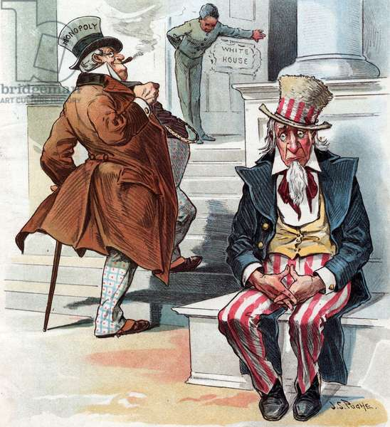 Uncle Sam sitting on the steps to the White House, 1896