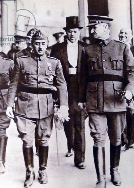 Francisco Franco with General Queipo de Llano in Seville during the Civil War 1936