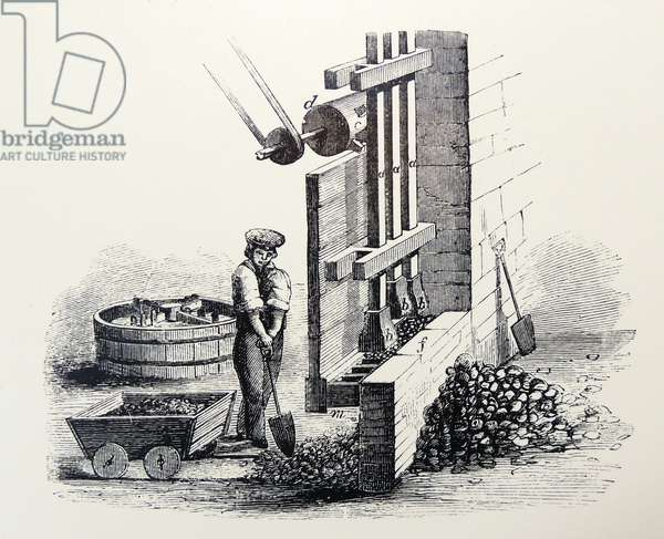 Stamping machine for crushing flint for use in pottery, The Potteries, Staffordshire, England. Engraving, London, 1860.