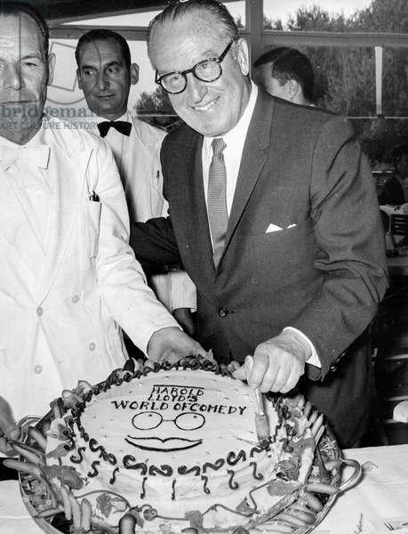 Harold Lloyd, Cannes, 60S (b/w photo)