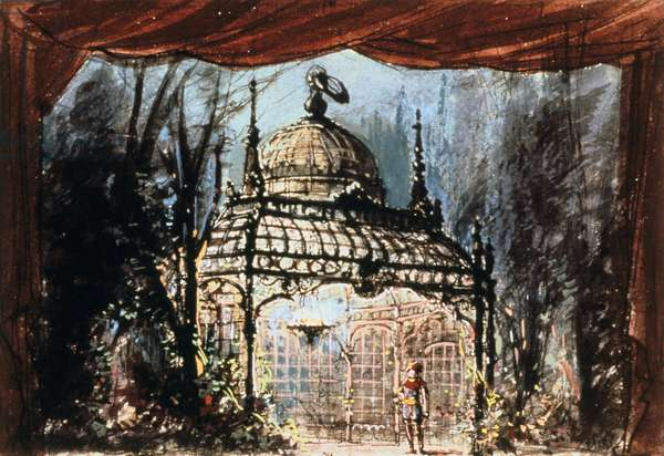 Set design for Mozart's Magic Flute, 1791 (1863). ('Die Zauberflote'), opera by Wolfgang Amadeus Mozart (1756-1791) with libretto by Emanuel Schikaneder (1751-1812) was first produced in Vienna in 1791. The plot has overtones of Freemasonry. Some say Queen of the Night is based on the Empress Maria Theresa (1717-1780). Design for an 1863 production at the Pairs Opera.