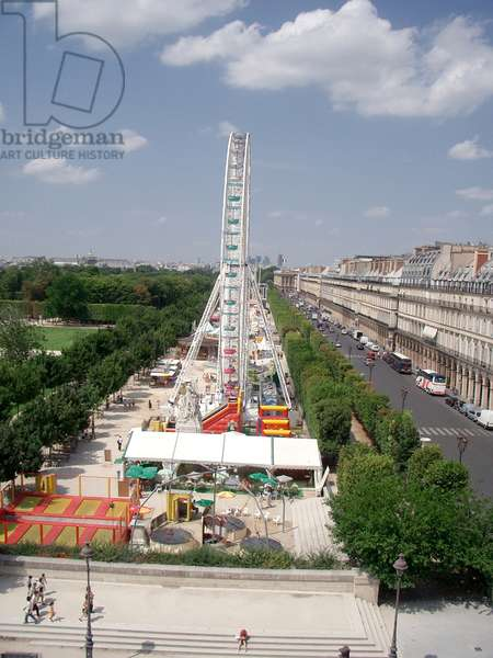 France. Paris. View Of The Tuileries Gardens With The Eiffel Tower On The Horizon.