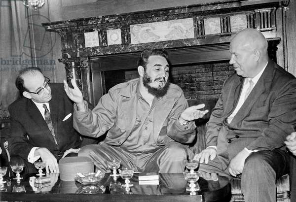 Fidel Castro With Nikita Khrushchev During The United Nations General Assembly