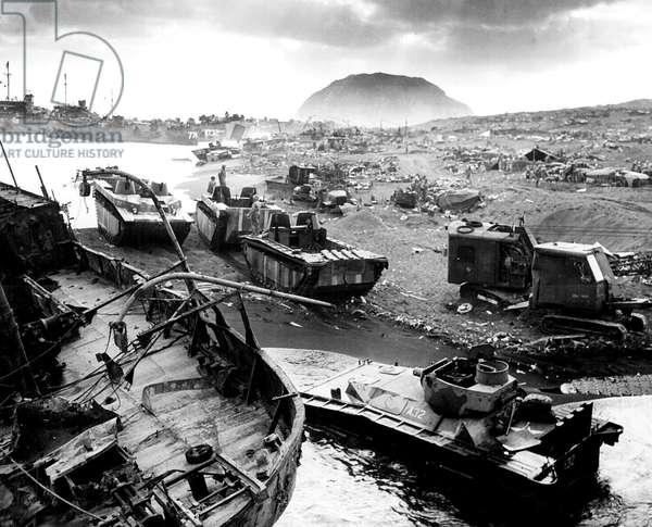 The US Forces landing in Iwo Jima Bonin Islands