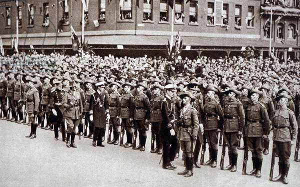 Prince Albert inspecting soldiers on Anzac Day