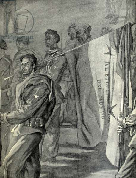 Spanish civil war: soldiers from Spanish Sahara in support of Franco Drawing by C. Sáenz de Tejada
