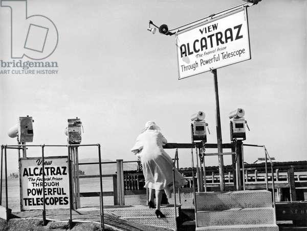 Woman Looking At Alcatraz (b/w photo)