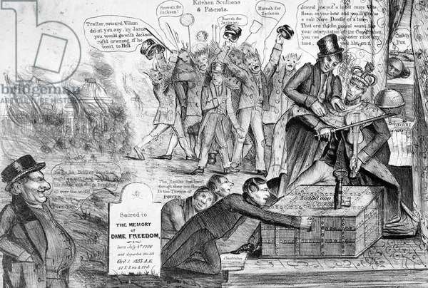 Satirical attack on Jackson's veto of the re-charter of the Bank of the United States, 1834