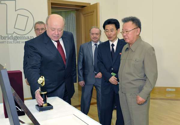 Pyongyang, North Korea, May 18, 2011, Russia'S Foreign Intelligence Service Chief Mikhail Fradkov (L) and North Korean Leader Kim Jong Il (R) Meet in the North Korean Capital Pyongyang.