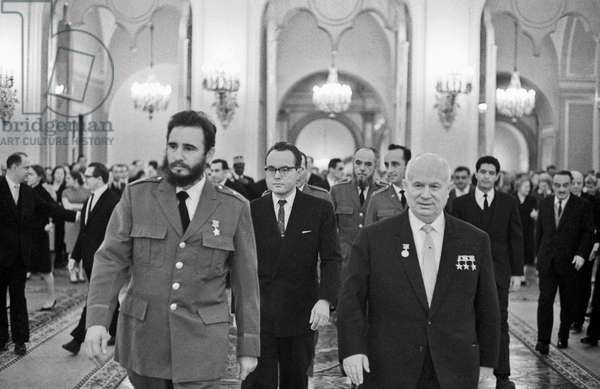 Nikita Khrushchev And Fidel Castro In The Kremlin