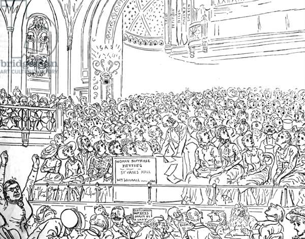 Woman's suffrage meeting in St James's Hall, 1885