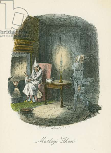 Marley's ghost appearing to Scrooge. Illustration by John Leech (1817-64) for Charles Dickens A Christmas Carol, London 1843-1844.