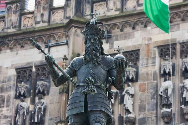 Statue of Charlemagne in Front of the City Hall, Aachen, Germany (photo)