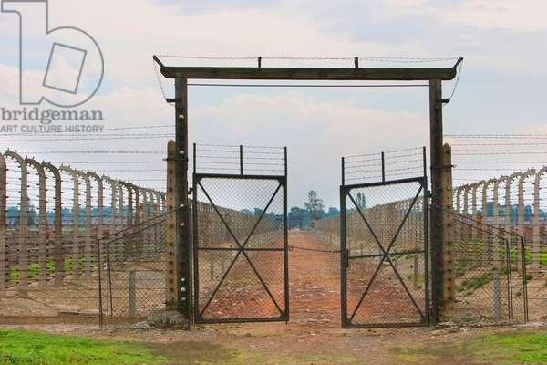 Gate to A Section of the Auschwitz-Birkenau Concentration Camp, Oswiecim, Malopolska, Poland (photo)