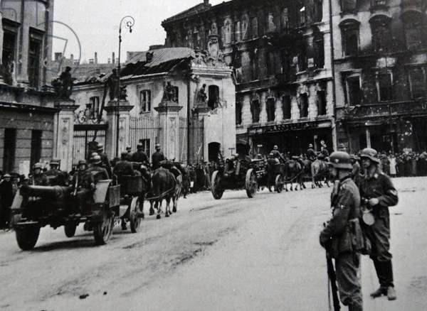 German army enters Warsaw, Poland at the beginning of World War two. 1939