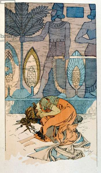 """Illustration by Alphonse Mucha from """"Rama"""" a poem in three acts by Paul Verola. ca.1898. Mucha (1860 – 1939). was a Czech Art Nouveau painter"""