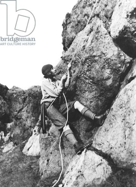 Woman Climbing In Zion, Zion National Park, Utah, February 20, 1920 (b/w photo)