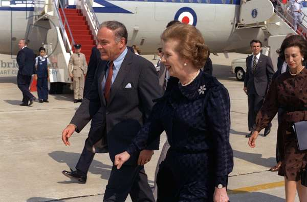 Margaret Thatcher, Prime Minister of the United Kingdom, met by US Secretary of State Alexander Haig, 1982