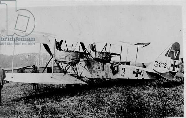 German Bi-Plane, 1916 (b/w photo)