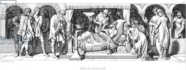 Death of Edward The Confessor (c1003-1066). Anglo-Saxon king of England from 1042. Edward's death. Illustration by Daniel Maclise for The Story of The Norman Conquest, London, 1866. Engraving.