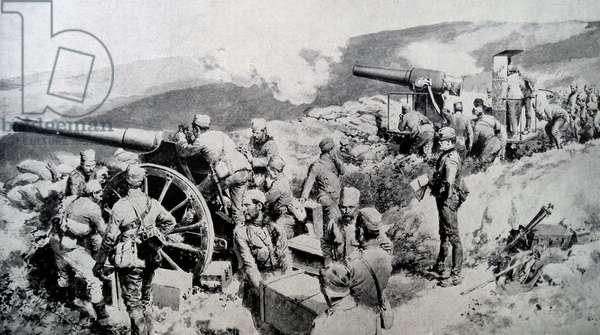 Serbian artillery defending their frontier, 1915