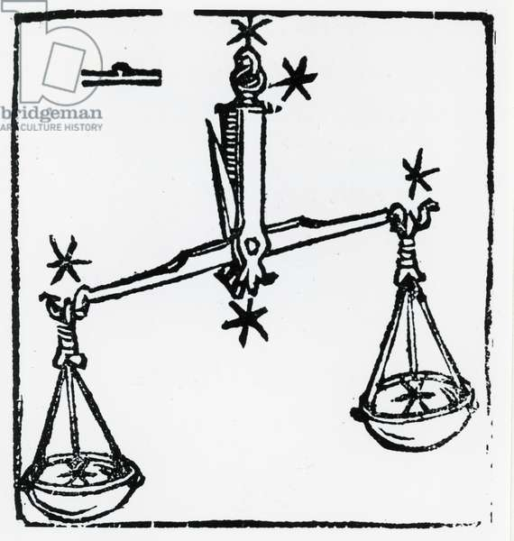 Zodiac sign of Libra. From ''Sphaera mundi'', Strasburg, 1539
