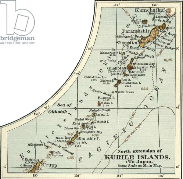 Map of the north extension of Kurile Islands