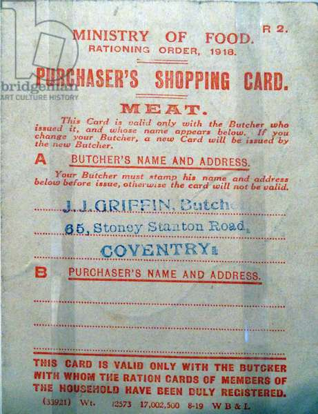Copy of a World War One Rationing Card