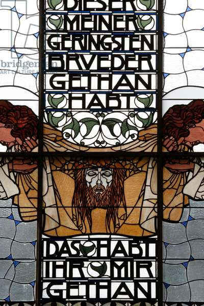Am Steinhof church (church Leopld), Stained glass by Koloman Moser, The Veil of Veronica (photo)