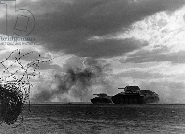 Battle of Stalingrad, Soviet T-34 Tanks Attacking Near Stalingrad, September 1942.