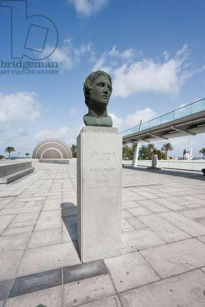 Bust of Alexander the Great by the Bibliotheca Alexandrina, the Modern Library of Alexandria, Alexandria, Al Iskandar (photo)