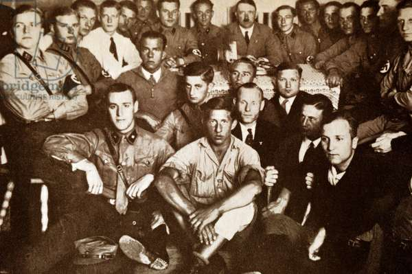 Nazi Brown Shirts gather with Adolf Hitler, 1932
