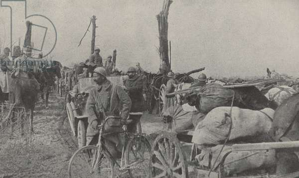 French relief convoy on the road to a Doincourt Roye. World War One 1916